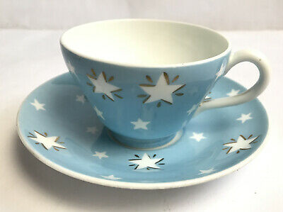 Wedgwood Sky Blue And Stars Design Cup And Saucer Made In England 529 • 30£