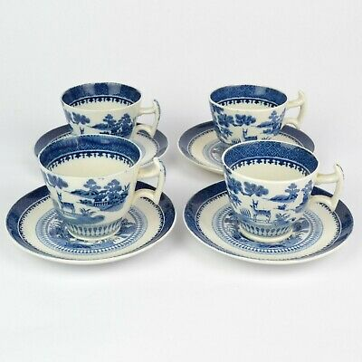 4 BOOTHS Lowestoft Deer Blue & White Cups & Saucers C1916 • 49.99£
