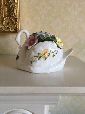 Rare Aynsley Cottage Garden Swan With Hand Moulded Flowers Bone China • 14.79£