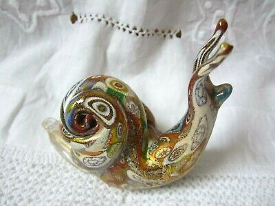 Vintage Art Glass Snail Figurine Paperweight Multi Coloured Millfiori  And Gilt  • 9.99£
