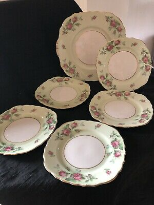 Colclough Mint Green & Pink Rosebuds Cake Plate And Tea Plates   • 13.99£