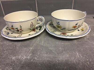 Gien Ouse Aux  De Paradis Two Cup & Saucer Made In France • 30£