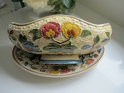 H J Wood Indian Tree Design  2 Items Large Boat Shaped Planter & Oval Dish • 29.99£