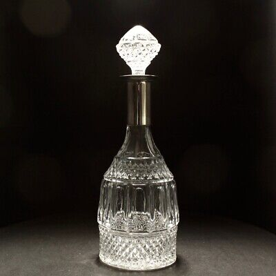 20th Century Large Baccarat Style Silver Plated Moulded Glass Decanter • 45£