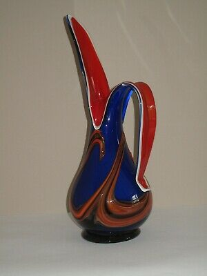 Large Blue & Red Glass Jug - 44.8 Cm • 250£