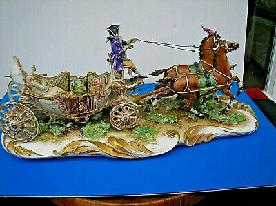 Large Capodimonte Horse And Carriage 15 Inches Long ( Needs Some Restoration ) • 49£