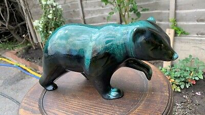 Fantastic Vintage Retro Terracotta Black Green Blue Pottery Bear Figurine * • 24.99£