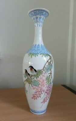 Chinese Egg Shell  Porcelain Hand Painted Birds & Floral Signed Vase - Preowned • 12£