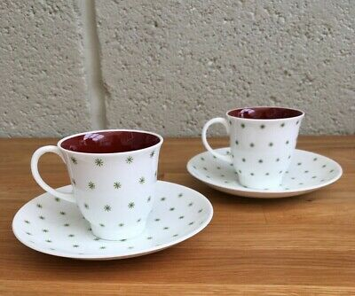 Pair Of Bone China Susie Cooper Teacups With Saucers. Vintage. 1950s. • 9£