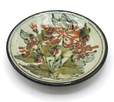 COLIN KELLAM Studio Pottery Stoneware Plate With Floral Decoration • 15£
