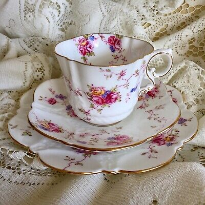 AYNSLEY Vintage Bone China Dainty Shape Cup Saucer And Plate Trio Pink Roses #2 • 125£