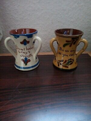 Two Aller Vale Slip Decorated Motto Ware Tygs, Torquay Ware. No Damages... • 17.99£