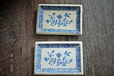 ANTIQUE  W T COPELAND BLUE & WHITE PIN TRAYS  9x 5 Ins • 10.99£