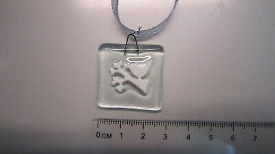 Clear Glass Fused Charm - White Bird On A Branch - Handmade Gift - Christmas • 1.50£