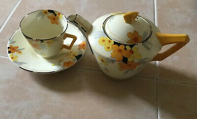 Lovely Crown Ducal Art Deco Sunburst Teapot,cup And Saucer, Perfect • 15£