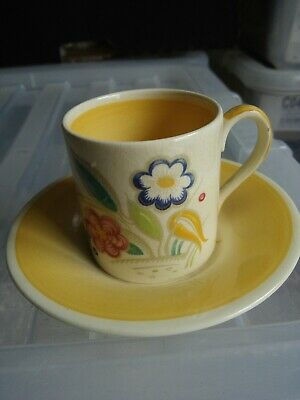 Vintage Susie Cooper Nosegay Pattern Coffee Can And Saucer Yellow • 10£