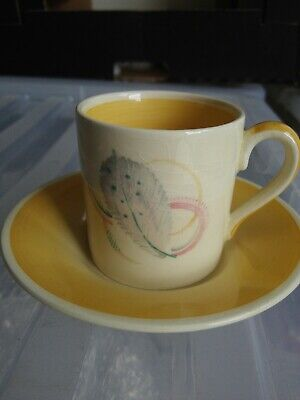 Susie Cooper Feather Leaf Pattern Coffee Can Cup And Saucer Yellow • 10£