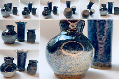 Set Of Three Small Vintage Blue Pottery Hand Thrown Vases Pots 1980s • 9.99£