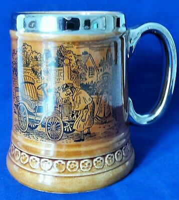 Lord Nelson Pottery Early Motorist Tankard - Brown With Silver Rim/handle - 1972 • 14.99£