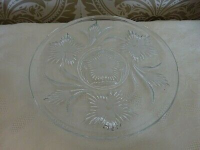 Vintage Retro Lead Crystal Floral Cut Glass Cake Plate Stand  28cm Diameter • 12.50£