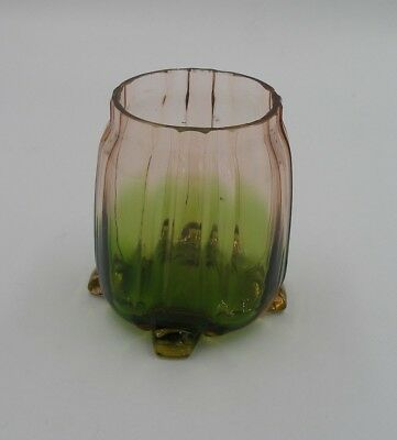 Art Nouveau Green To Pink Glass Vase With Applied Feet Ca. 1900 • 21£