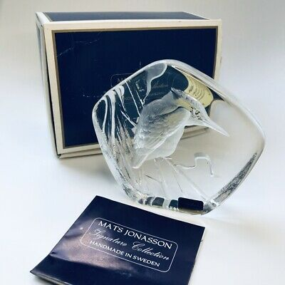 Mats Jonasson Signature Collection Signed Kingfisher Crystal Paperweight Mint  • 39.99£