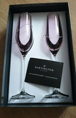 Dartington Crystal Pink Toasting Flutes Made With Swarovski Elements. New. • 25£