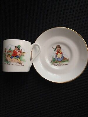 Porcelain Nursery Characters Cup And Saucer Vintage • 10£