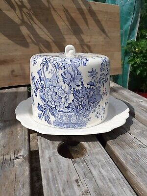 Large Vintage Crown Devon Fieldings Staffordshire Blue White Cheese Dome Dish • 1.70£