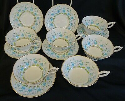 VINTAGE SET OF 6 COALPORT HAREBELL CUPS AND SAUCERS ( 2nd Quality ). • 29.99£