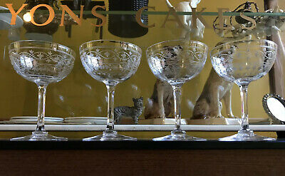 Set Of 4 Antique Late Victorian Engraved Small Champagne Glasses / Coupes • 65£
