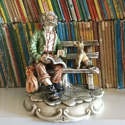 Vintage Ceramic Figure. Tramp On Bench With Dog. Unsigned. Capodimonte Style.  • 8£