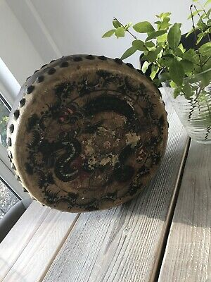 Very Worn Old Chinese Dragon Temple Drum Large 31cm Worldwide Shipping • 74.99£