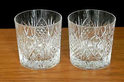 Pair Of Cut Glass Whiskey Tumblers • 14.99£