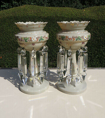 Pair Of Antique Opaline Glass Lustre/Luster/Mantle Vases With Drops - Painted • 199£