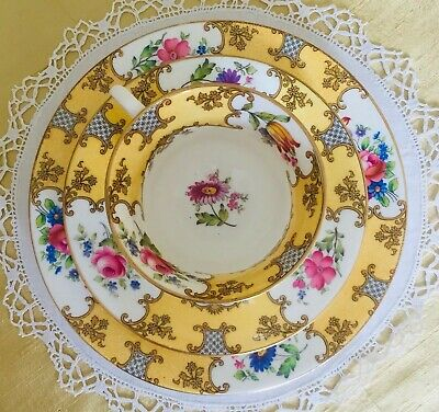 AYNSLEY Vintage Bone China Yellow Floral Tea Cup Saucer And Plate Trio Set A • 75£