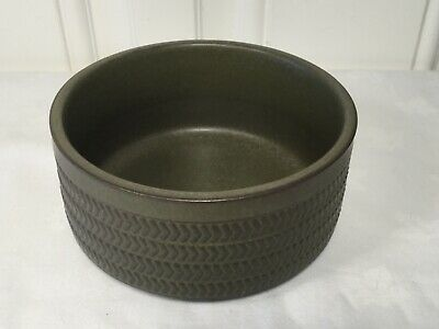Vintage Denby Olive Green Chevron Stoneware Bowl  Straight Sided • 9.99£