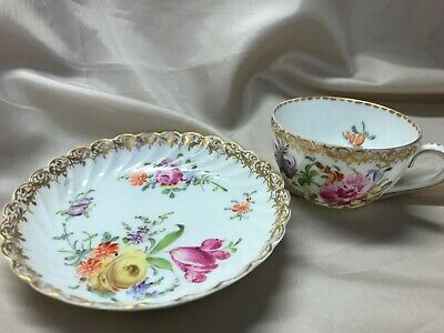 Antique Dresden Cabinet Cup And Saucer Floral - Beautiful Porcelain  • 12£
