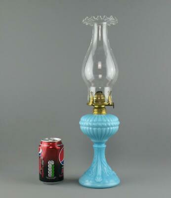 Antique French Portieux Vallerysthal Blue Milk Glass Oil Lamp Dolphins / Fish • 49.95£