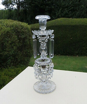 Tall Cut Glass Regency Style Lustre Candlestick With Georgian Drops/Prisms • 149.99£
