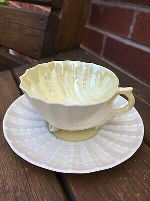 Belleek Ireland China Oyster/Shell Cup And Saucer • 28.20£