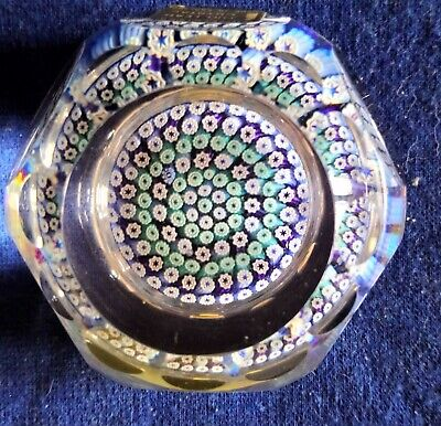 ANTIQUE WHITEFRIARS LEAD CRYSTAL  MILLEFIORI FACETED PAPERWEIGHT-see Desc • 18£