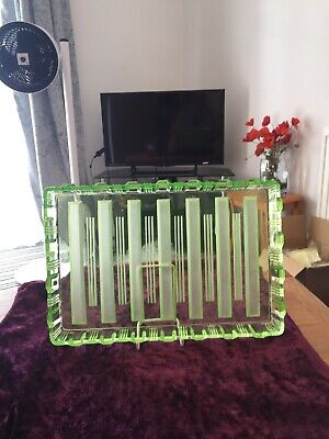 1930's Rectangular Green Glass Tray Smart Stripes In Beautiful Condition • 20£