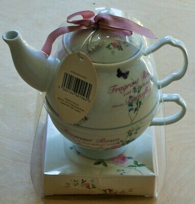 BHS Vintage Style Roses & Butterflies - Tea For One Teapot & Cup - BNWT • 9.99£