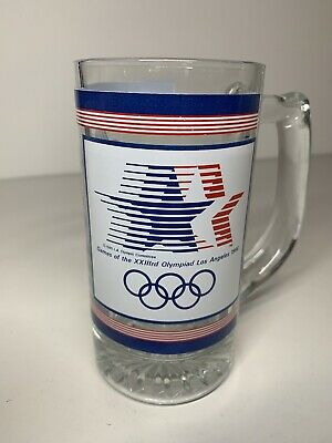 XXIII Olympiad Olympic Games Los Angeles 1984 Glass Tankard Stars In Motion RARE • 29.99£