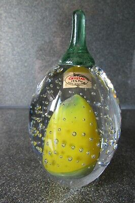 Boxed Nobile Crystal Lemon Paperweight Signed Graziella Cavalli Labelled Fruit • 15£