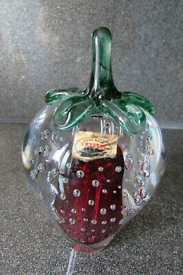 Boxed Nobile Crystal Strawberry Paperweight Signed Graziella Cavalli Labelled • 15£