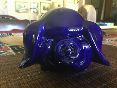 Vintage Dartmouth Piggy Bank 'angry Pig Blue With Nose Ring' • 20£