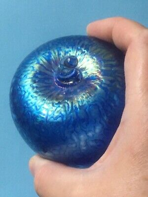 Isle Of Wight Iridescent Blue Glass Apple Art Glass Ornament; Ditchfield Style • 40£