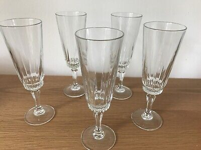 Set Of 5 VINTAGE  Crystal Cut Glass Champagne Flutes - Lovely Condition • 5.50£